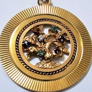 Jewelry - Vtge 14K 585 Y Gold Tree of Life Gemstone Dia Pend
